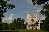 Gothic Chapel (st. Alexander Nevsky Orthodox Church, 1834) In Alexandria Park, Peterhof, St. Petersb
