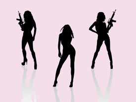 foto of girls guns  - Three dangerous girls with guns ready for action - JPG