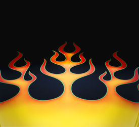 image of muscle-car  - Flame graphic paint job on hot rod car  - JPG