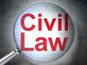 Law concept: Civil Law with optical glass