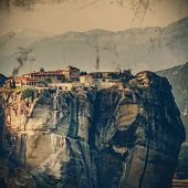 Vintage Coaster - Meteora Monasteries, Greece