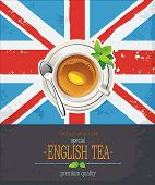 The Great British background with tea cup over a UK Union Jack. Elegant romantic card with place for