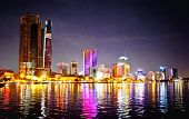 Panoramic cityscape of Ho Chi Minh city or Saigon at night, Vietnam.