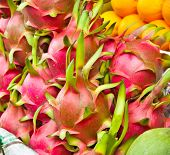 Dragon fruit on market stand in Saigon, Vietnam.