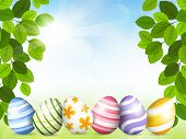 stock photo of easter decoration  - Vector illustration of the Card by Easter with beautiful eggs - JPG