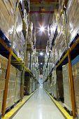 Lane Shelves In A Warehouse