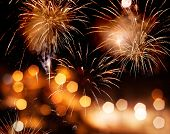Fireworks and bokeh background