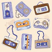 stock photo of magnetic tape  - Set of retro cassette tapes - JPG