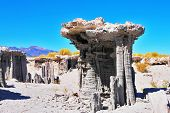 Limestone pillars Tufa in Mono Lake.Clear sunny day