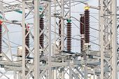 picture of substation  - High voltage electric power substation in autumn day - JPG