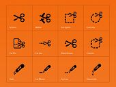 Scissors with cut lines icons.