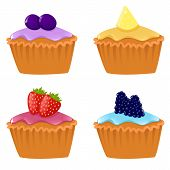Set Of Cupcakes With Berries
