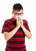 Asian man having a sick flu