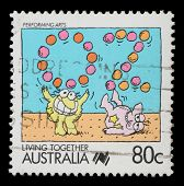 AUSTRALIA - CIRCA 1988: A stamp printed in Australia shows Performing arts jugglers, circa 1988