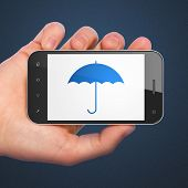 Privacy concept: Umbrella on smartphone