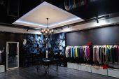 Modern interior in center modern clothes shop