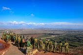 MOUNT BENTAL - NOVEMBER 13: Israeli paratroopers are studying their positions along Israeli-Syria bo