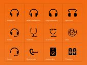 Headphones icons on orange background.