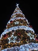 Giant outdoors Christmas tree illuminated at the evening night against dark blue sky