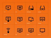 TV icons on orange background.