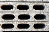 pic of cinder block  - the gray concrete construction blocks top view - JPG