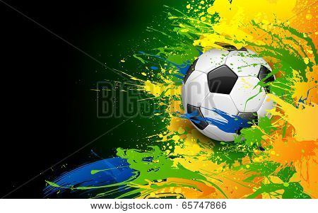 illustration of soccer ball in Football background poster