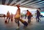 passengers motion blur in shenzhen train station