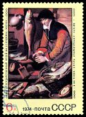 Vintage  Postage Stamp. The Fishmorgen, By Pieters.