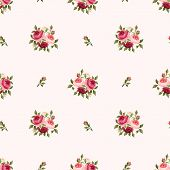 pic of english rose  - Vector seamless pattern with red and pink English roses on a pink background - JPG