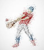 foto of hitter  - Abstract baseball player kick the ball - JPG