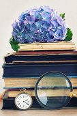 pile of old books with flowers and looking glass