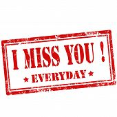 image of miss you  - Grunge rubber stamp with text I Miss You - JPG
