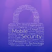 Padlock Shape Word Cloud About Mobile Security