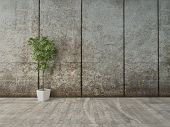 Grunge decor interior with concrete wall and flower pot