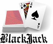 stock photo of spade  - Black jack hand in spades as casino gambling playing card game - JPG