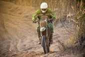 stock photo of motocross  - Motocross bike in a race - JPG
