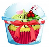 Illustration of a clear disposable transparent container with a cupcake on a white background