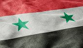 Oblique view of the Flag of Syria