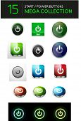 Vector mega set of abstract power buttons. 20 design elements