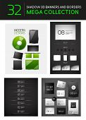 Vector creative 3d shadow banners borders dividers. Mega collection