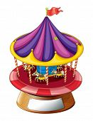 Illustration of a carousel ride on a white background