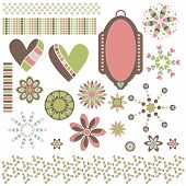 Graphic collection with hearts ornaments trims and tag