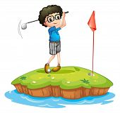 Illustration of a young man playing golf on a white background