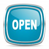 open blue glossy icon