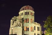 world war ruins of Hiroshima at night