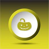 Pumpkin. Plastic button. Raster illustration.