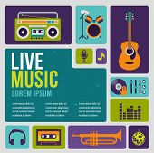stock photo of drum-set  - Music infographic and icon set of instruments and data - JPG