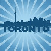 Toronto skyline reflected with blue sunburst vector illustration
