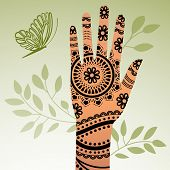 stock photo of mehendi  - mehendi  hand - JPG