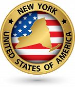 New York State Gold Label With State Map, Vector Illustration
